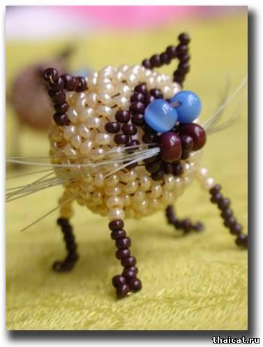 Тайские кошки из бисера. своими руками.  Автор работ Полина Мальченко (Белканова) .