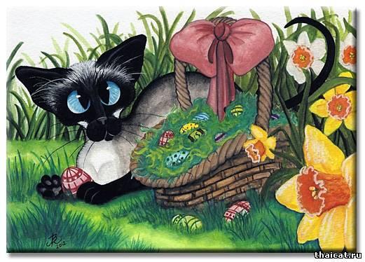 ЭмиЛин Бирле. Сиамский котик с весенними нарциссами корзинкой пасхальных яйц