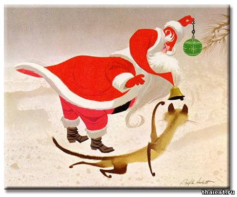 Раритетные новогодние открытки с сиамскими кошками от Ральфа Хьюлетта.
