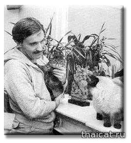 Писатель Ив Наварр и сиамские кошки