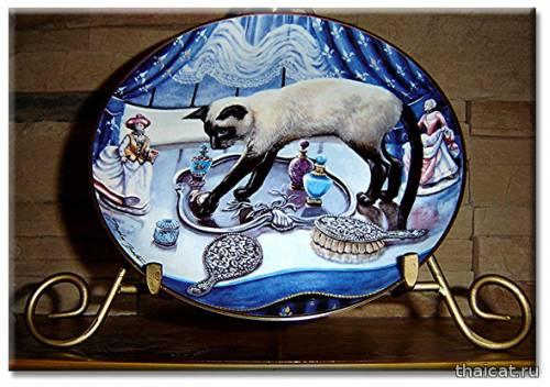 Винтажные декоративные тарелки с сиамскими кошками