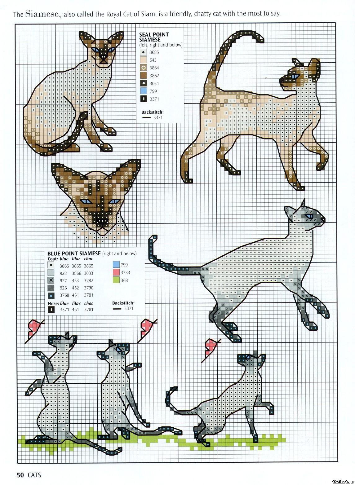 Схемы для вышивки крестом сиамские кошки